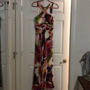 Theia Floral Sleeveless Maxi Dress, Sz 6